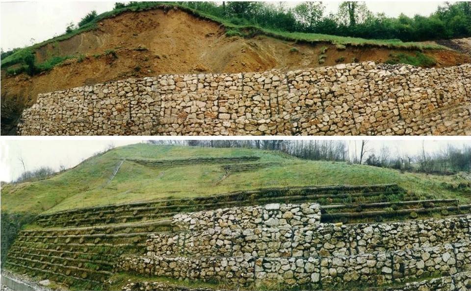 Recupero e messa in sicurezza di un fronte di scavo, evidente anche il miglioramento della qualità dell'ambiente conseguito